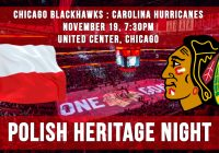 Polish Heritage Night: Blackhawks vs. Hurricanes  – Nov. 19 7:30pm