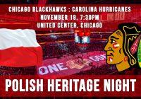 Polish Heritage Night: Blackhawks vs. Hurricanes  – Nov. 19 7:30pm